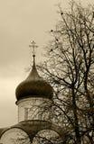 在灰色秋天天空的背景的正统十字架 免版税库存照片