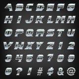 在灰色背景排版的金属锋利渐近的字体 向量例证