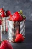 在灰色背景的新鲜的草莓 点心用草莓和巧克力,焦糖 在铁罐的草莓 免版税图库摄影