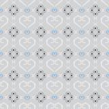 在灰色背景的无缝的纹理传染媒介样式心脏瓦片 库存图片