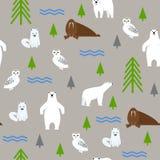 在灰色背景的极性动物 无缝的模式 免版税库存照片