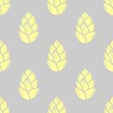 在灰色背景的淡色黄色多汁植物 无缝的模式 皇族释放例证