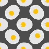 在灰色背景的煎蛋无缝的样式 免版税库存照片