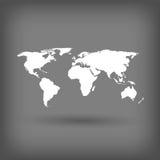 在灰色背景的白色世界地图 免版税库存照片