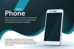 在灰色背景的白色现代智能手机 销售和折扣横幅设计 与梯度和弯曲的线的现代背景 图库摄影