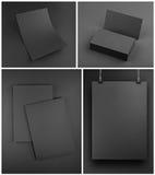 在灰色背景的空白的灰色文具大模型模板 免版税库存照片