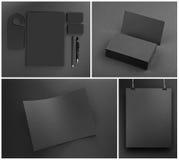 在灰色背景的空白的灰色文具大模型模板 库存照片