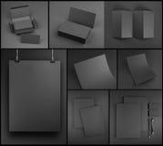 在灰色背景的空白的灰色文具大模型模板 免版税库存图片