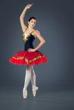 在灰色背景的美丽的女性跳芭蕾舞者 免版税库存照片