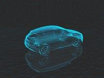 在灰色背景的蓝色X-射线汽车在3d 库存照片