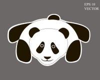 在灰色背景的逗人喜爱的熊猫动画片 编辑可能 免版税库存照片