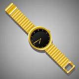 在灰色背景的金黄手表 是能设计员每个evgeniy图象独立kotelevskiy对象原来的向量 免版税图库摄影