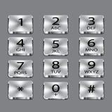 在灰色背景的铝电话正方形按钮 库存照片