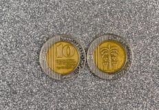 在灰色背景的10以色列新的谢克尔硬币 免版税库存照片