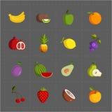 在灰色背景设置的五颜六色的果子象 免版税库存照片