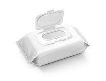 在灰色背景隔绝的空白的包装的湿抹囊 免版税图库摄影