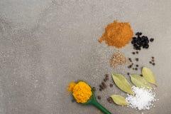 在灰色背景顶视图的香料 加香料辣椒粉,海盐,月桂叶,胡椒,姜黄 库存照片