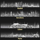 在灰色色彩色板显示的晚上导航马德里、巴塞罗那、里斯本和波尔图市的抽象例证地平线 库存例证