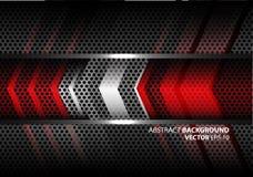 在灰色金属圈子滤网设计现代背景纹理传染媒介的抽象红色银色箭头 免版税库存图片