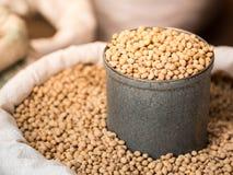 在灰色锡罐,选择聚焦的大豆豆 库存图片
