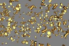 在灰色隔绝的黄色,金黄螺丝螺栓-美好的工业3D例证,图片为设计使用 皇族释放例证