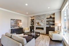 在灰色颜色的别致的客厅内部 免版税库存照片