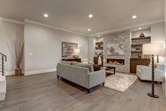 在灰色颜色的别致的客厅内部 免版税图库摄影