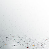 在灰色颜色背景的抽象分子 未来派技术概念的网络 免版税库存图片