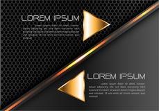 在灰色黑圈子滤网设计现代豪华未来派创造性的想法背景传染媒介的抽象金线三角 库存图片