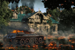 在灼烧的庄园的灼烧的坦克 图库摄影