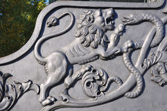 在炮架沙皇大炮的装饰品 克里姆林宫 莫斯科 俄国 库存图片