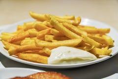 在炸薯条的倾吐的乳酪调味料,特写镜头 库存照片