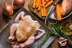 在烘烤盘子晒干的未加工的未煮过的鸡,迷迭香,切好装饰菜红萝卜土豆葱大蒜,为co做准备 库存图片