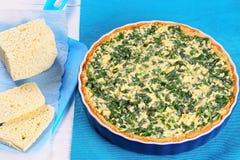 在烘烤盘的乳酪和菠菜乳蛋饼 免版税库存图片
