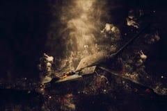 在烟云的坦克 免版税库存图片