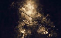 在烟云的坦克 库存照片