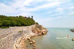 在烟台,中国附近的蓬莱Pavillon 库存图片
