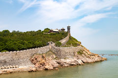 在烟台,中国附近的蓬莱Pavillon 库存照片