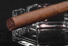 在烟灰缸的雪茄 库存照片