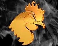 在烟的背景的金黄雄鸡 图库摄影