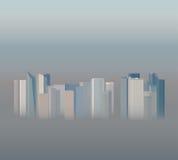 在烟雾,例证的高层办公大楼 图库摄影