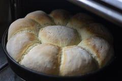 在烤盘的家制面包在烤箱外面 库存照片