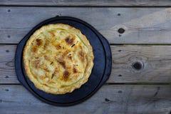 在烤盘的新鲜的苹果饼 库存照片