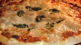在烤箱的圆比萨 股票视频