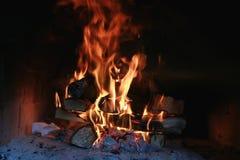 在烤箱的火焰火 库存图片