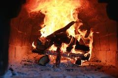 在烤箱的火焰火 库存照片