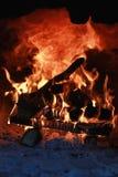 在烤箱的火焰火 免版税库存照片