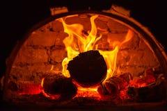 在烤箱的火焰 库存照片