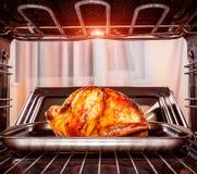 在烤箱的烤鸡 图库摄影