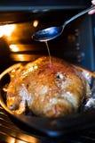 在烤箱的烤鸭 免版税库存照片